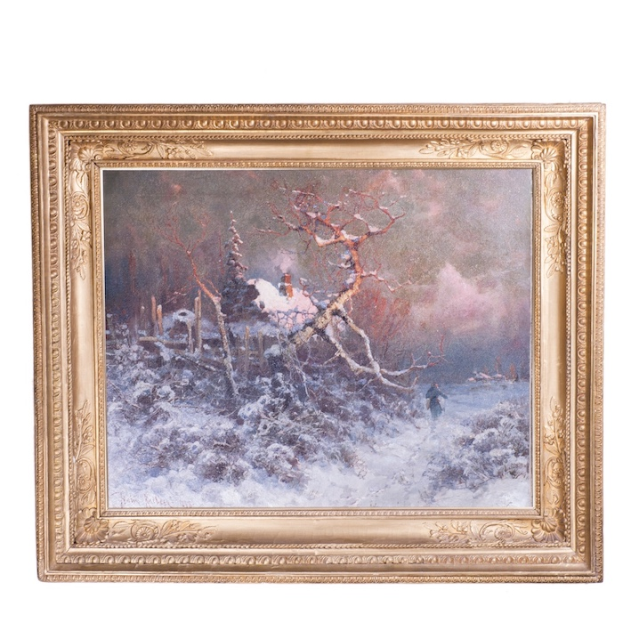 "U.U.Klever oil on canvas painting ""Winter evening"""