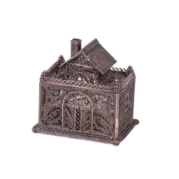 """Russian silver filigree box """"Teremok"""""""