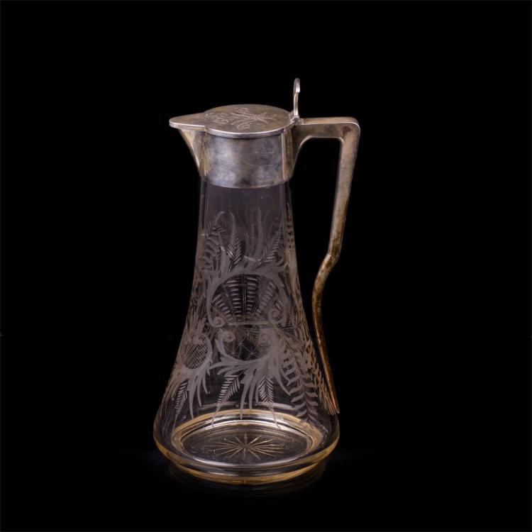 Great Russian silver and glass carafe