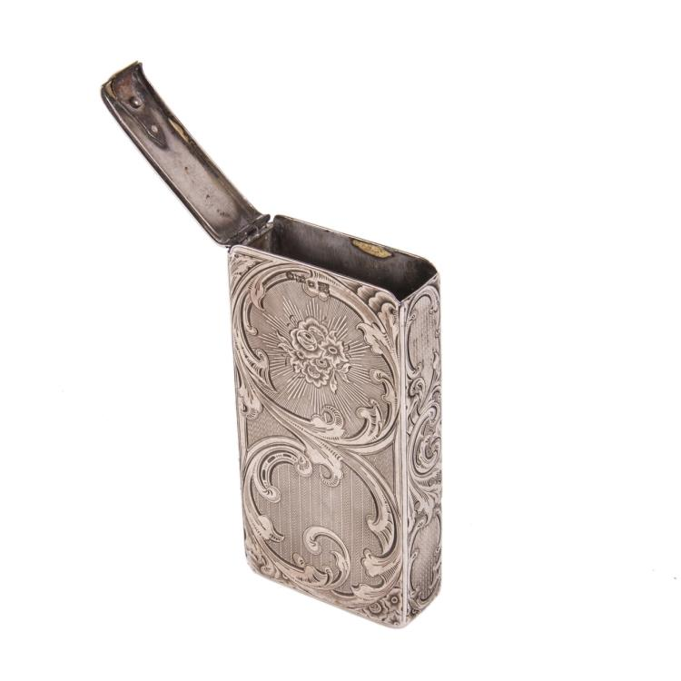 Russian engraved neorococo silver-gilt cigarette case