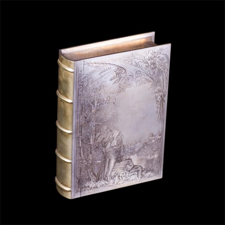 Interesting Russian silver-gilt and engraving cigar box