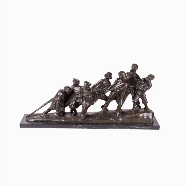 """""""Barge Haulers on the Volga"""" bronze sculpture by Zelikson"""