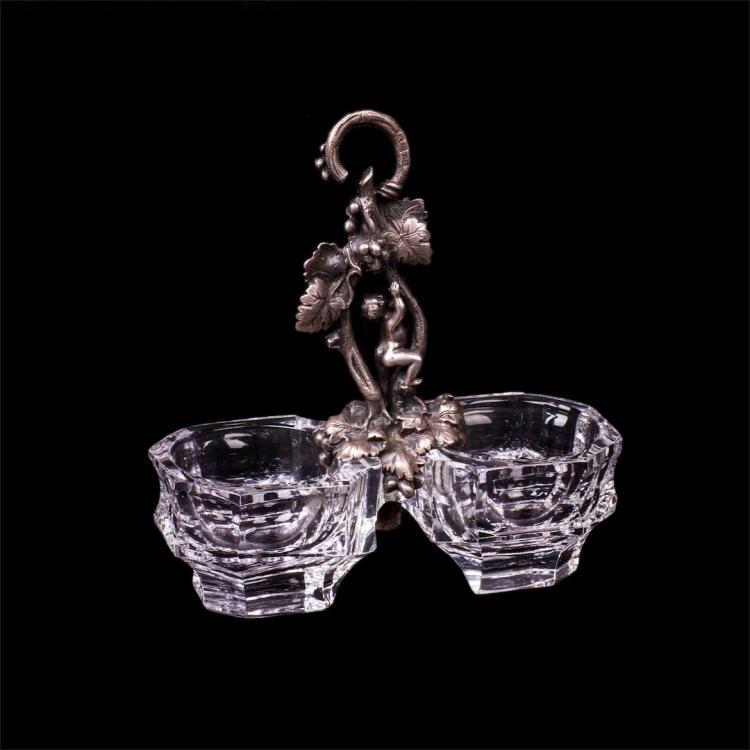 Russian silver and cut-glass cruet with putti figure