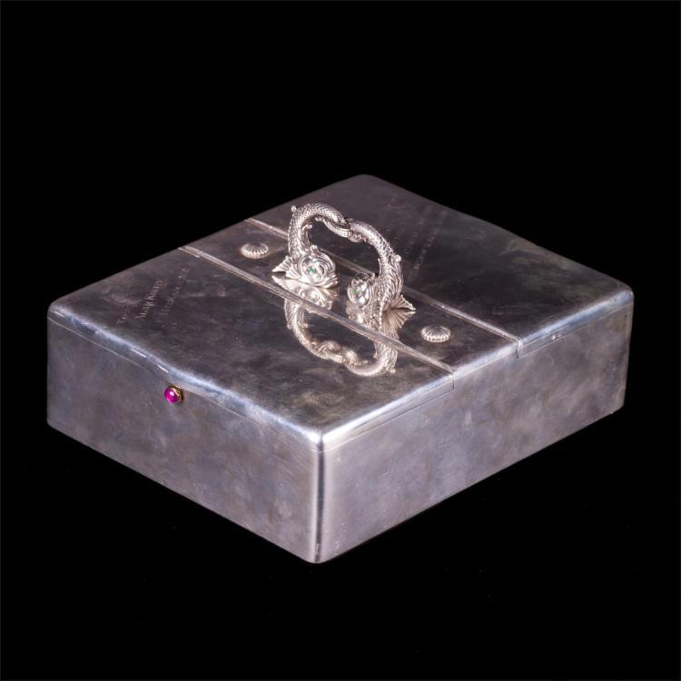 Grand W.A. Bolin neoclassical style silver cigar box