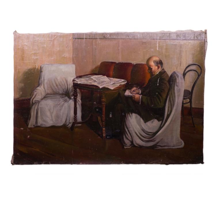 "Soviet oil on canvas painting ""Lenin in Smolniy""."