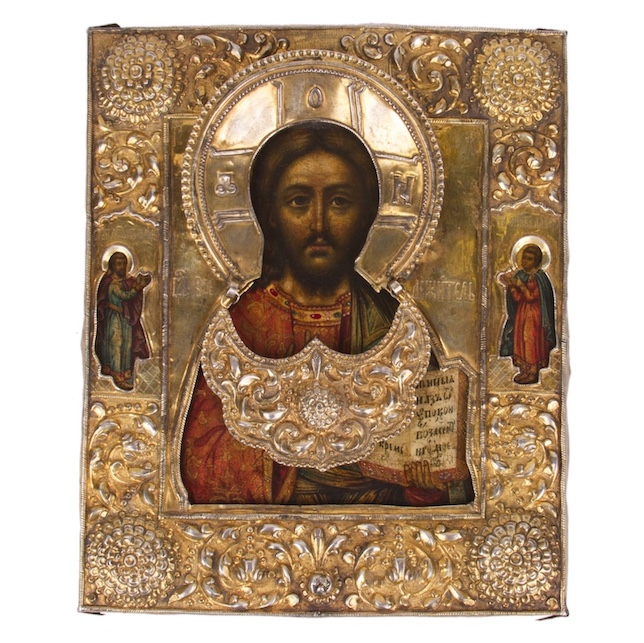 Fine Russian 18th century Icon of Christ Pantocrator