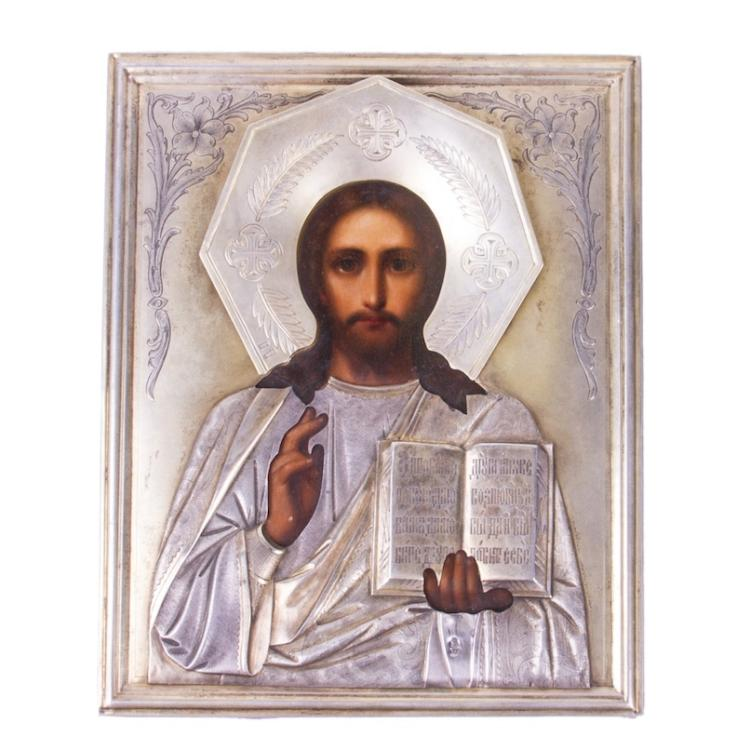 Russian Art nouveau Icon of Christ Pantocrator
