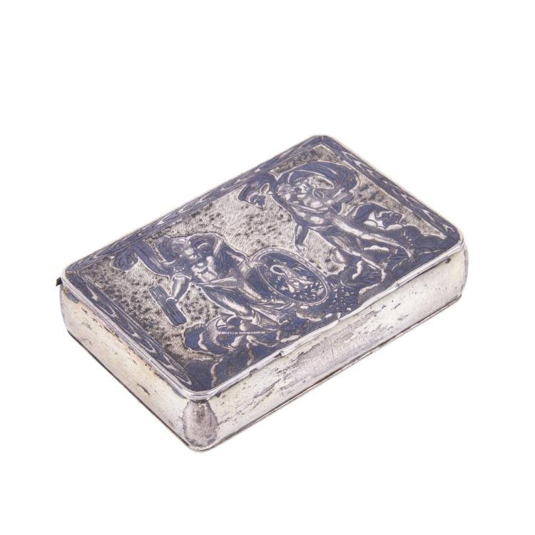 Russian silver-gilt snuff-box in honor of a victory of 1812