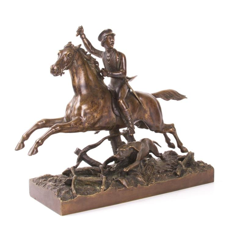 "Rare Russian ""Hunting"" bronze sculpture"