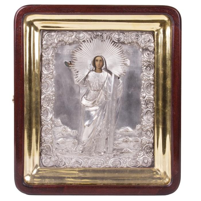 Russian Icon of St. Elena in silver riza