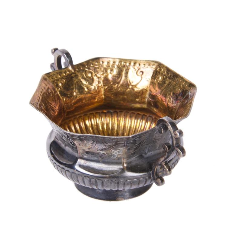 Engraved silver-gilt cup with coin enchased