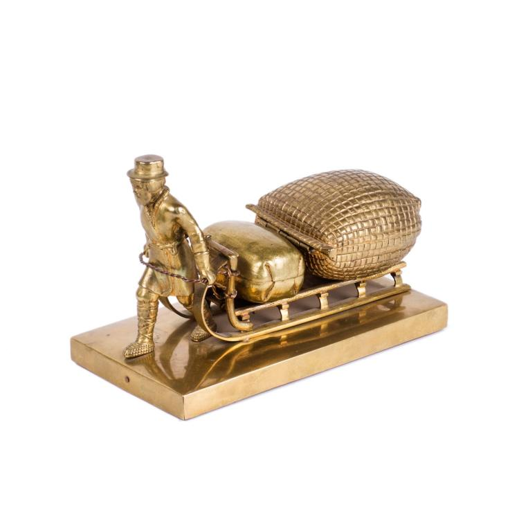 "Russian gilt-bronze table statuary ""Peasant on the sleigh"""