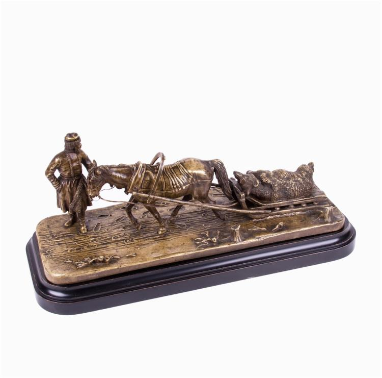 """Returning from the winter bear hunting"" Russian bronze"