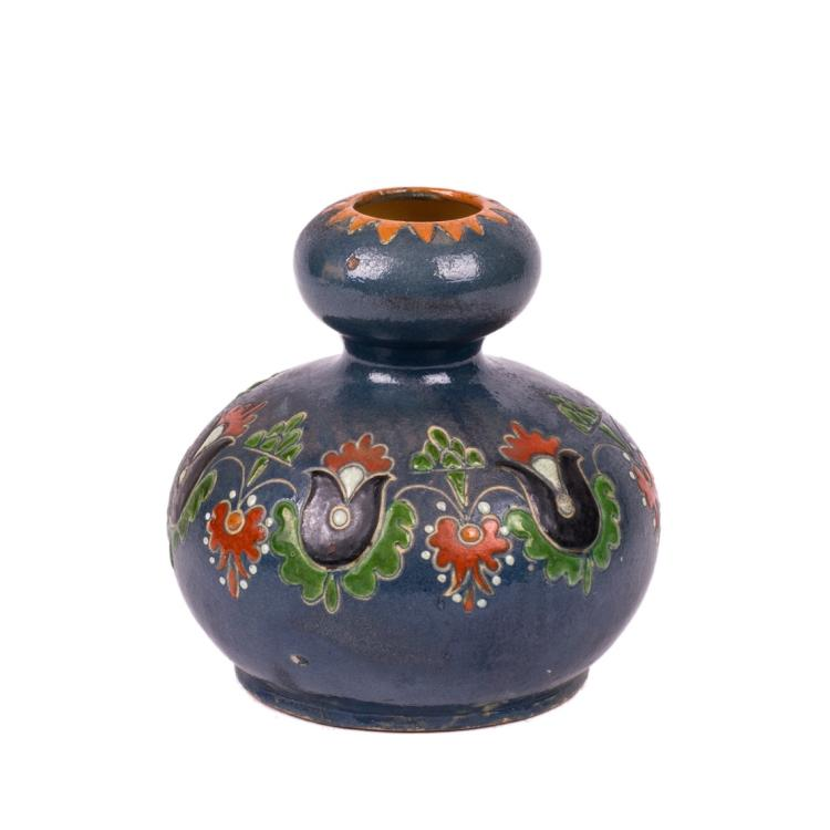 Small faience vase with painting under the cobalt background