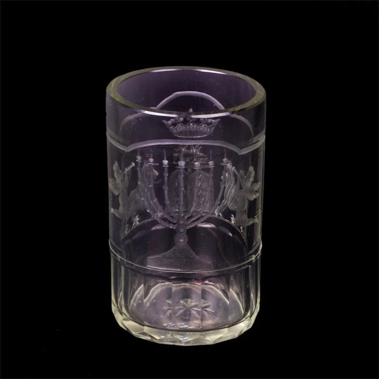 Grand engraved glass jewish beaker for Saturday wine