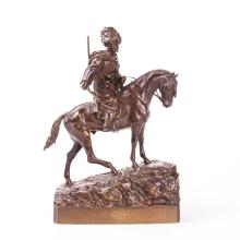 """Horseback Circassian with whip"" bronze figure by Grachev"