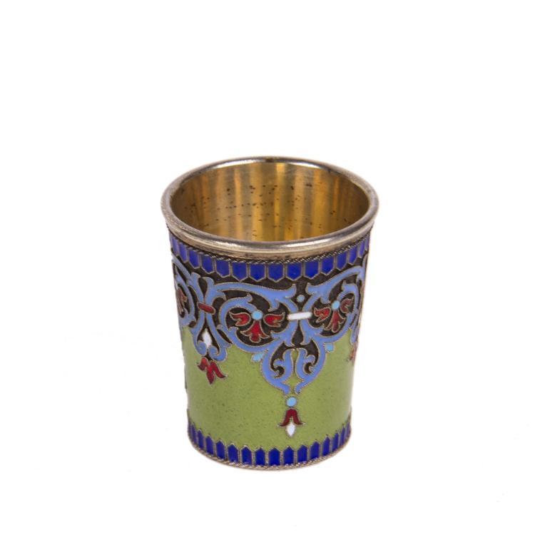 Unusual Russian silver-gilt and guilloche enamel beaker