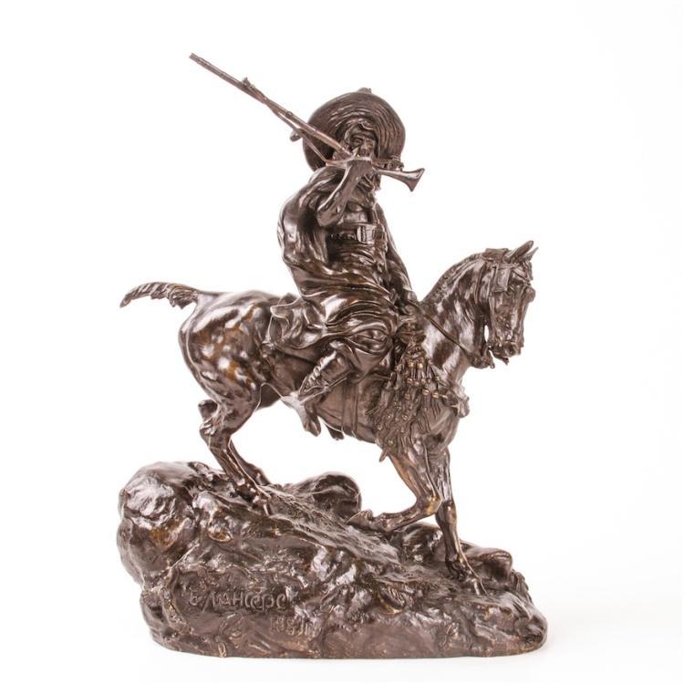 "Rare Russian bronze sculpture ""Arab cavalier on patrol"""