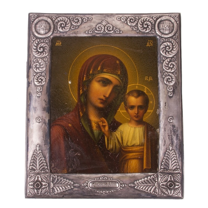 Russian Art nouveau Icon of Mother of God of Kazan