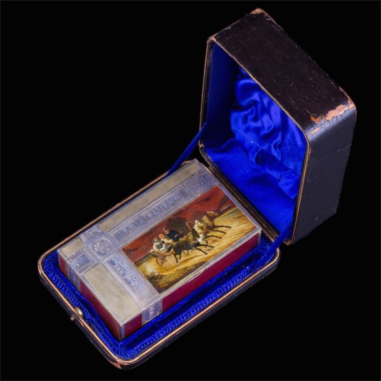 Unusual Russian silver-gilt and lacquer enamel cigar box