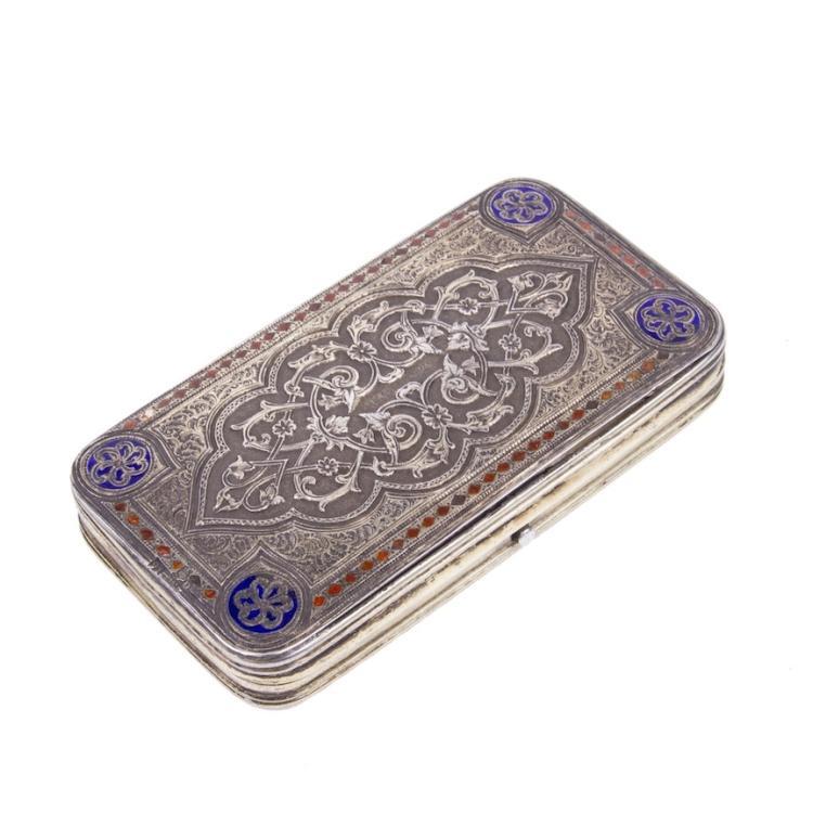 Russian silver engraving and cloisonne enamel cigarette case