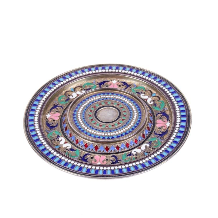 Russian silver and cloisonne enamel decorative plate