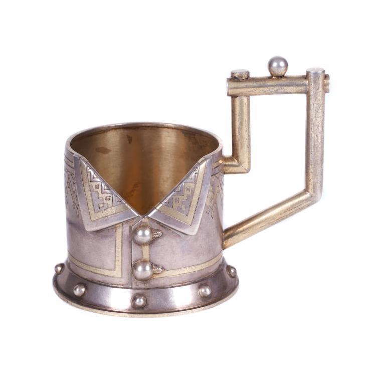 "Russian silver ""frock-coat"" tea glass holder"