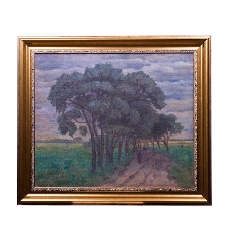 "Soviet oil on canvas painting ""Countryside road"""