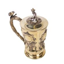Russian silver-gilt cup with lid and casting figure