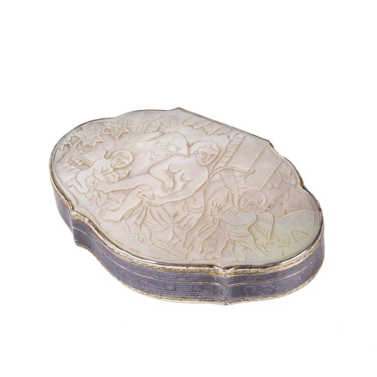 Russian silver, niello and mother of pearl carved box