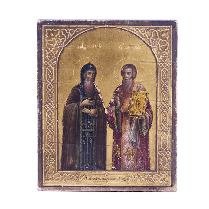 Russian Icon depicting St. Sergiy of Valaam and St. Ioann