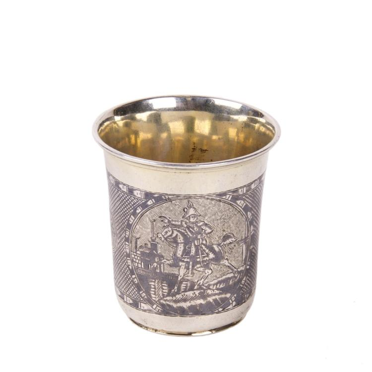 Russian silver-gilt beaker depicting Napoleon & Alexander I