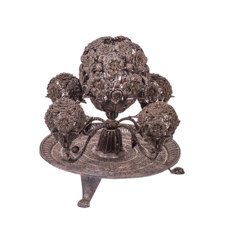 Silver filigree table decoration in the shape of tree