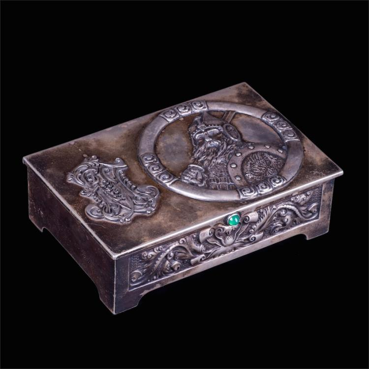 Fine Faberge silver cigar box with Bogatyr