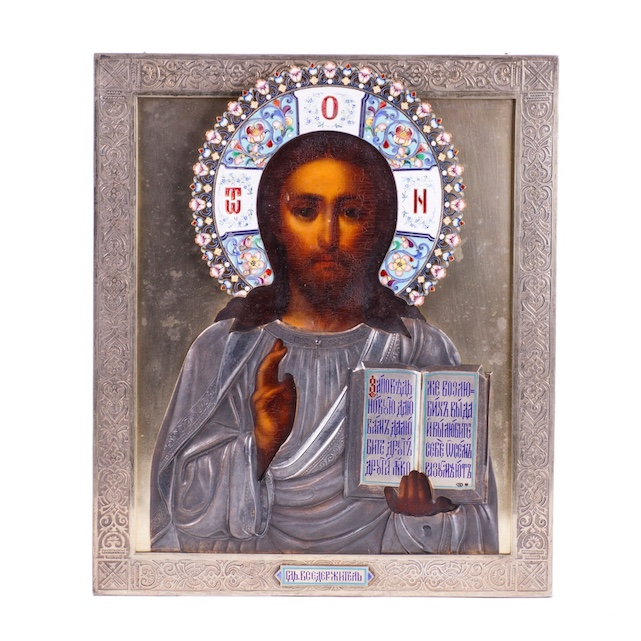 Russian Icon of Christ Pantocrator in enameled silver riza