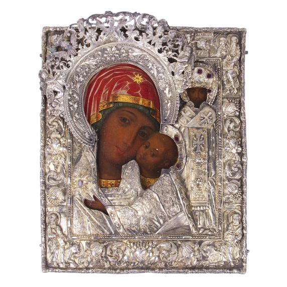 Rare Russian Icon of Mother of God Okovetskaya-Rzevskaya