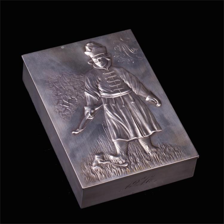 "Russian style silver-gilt cigar box ""Ivan Tsarevitch"""