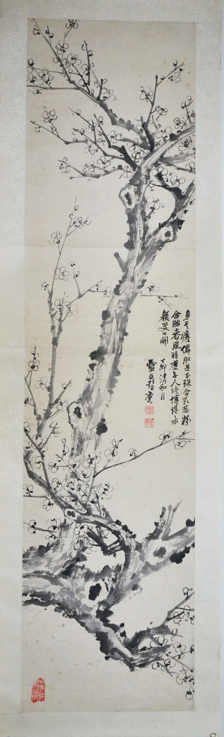 A FRAMED CHINESE PAINTING OF PLUM BLOSSOM BY PENG YU LIN
