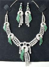 37 carat Art Deco diamond necklace & earrings