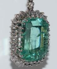 Emerald diamond pendant with 26 carat, 750 white gold