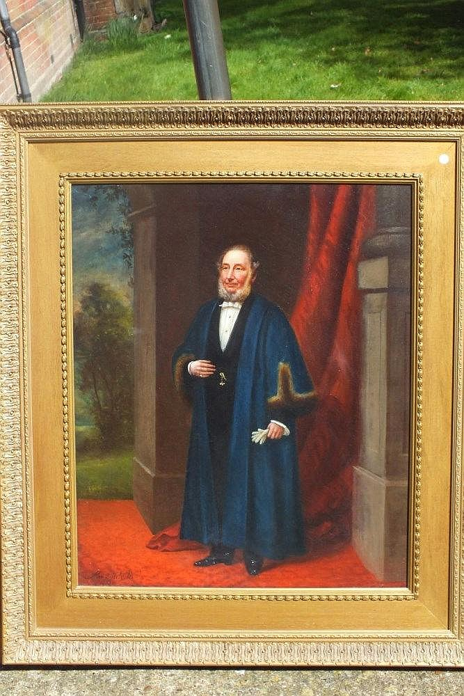 Alex Melville – full length portrait of a gentleman in formal robes, oil on