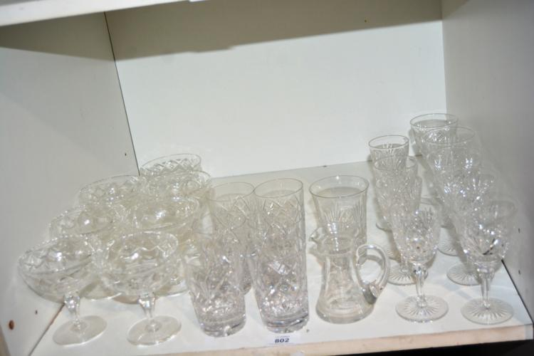 Shelf: good quality crystal drinking glasses incl. Webb Corb