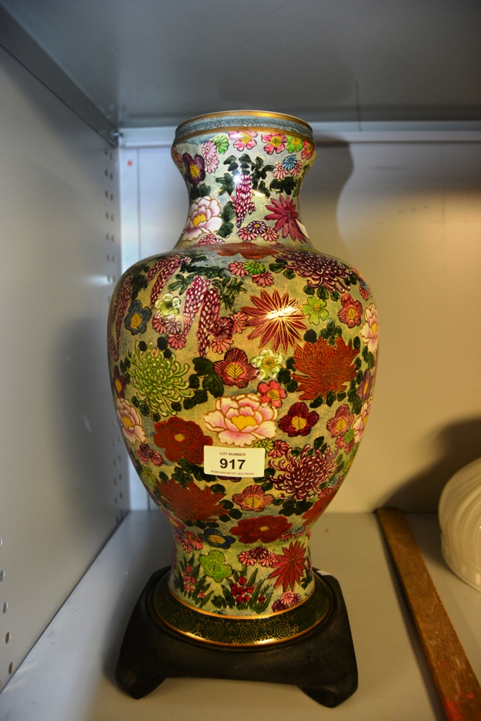 Large japanese vase on stand floral decoration note hole for Decoration hole