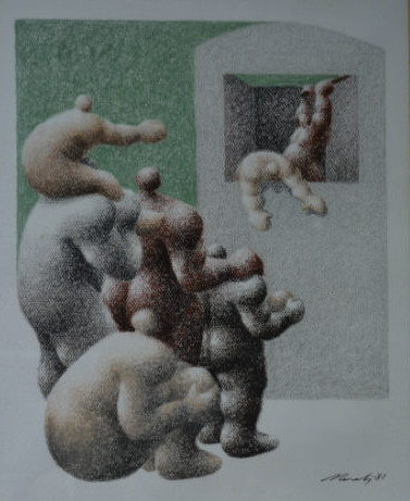 Modernist scene of figures falling from a