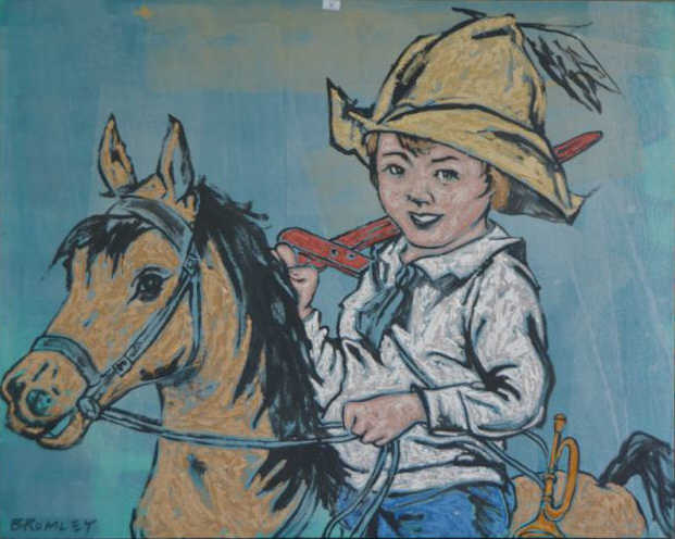 David Bromley, 'Young cowboy', acrylic on canvas,