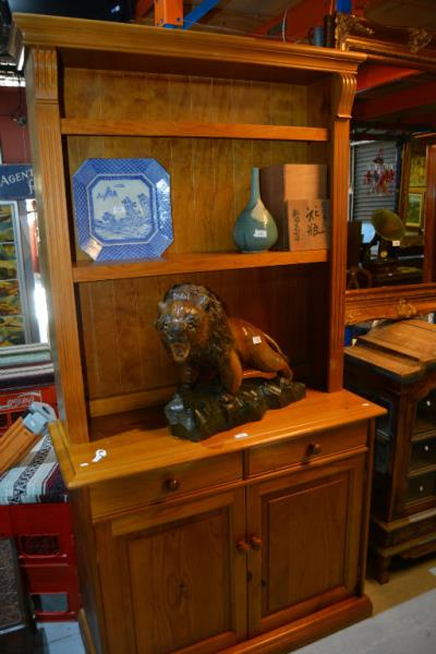 Modern pine bookcase unit, open shelves