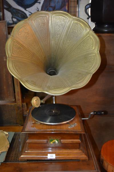 HMV wind up gramophone, ornate brass
