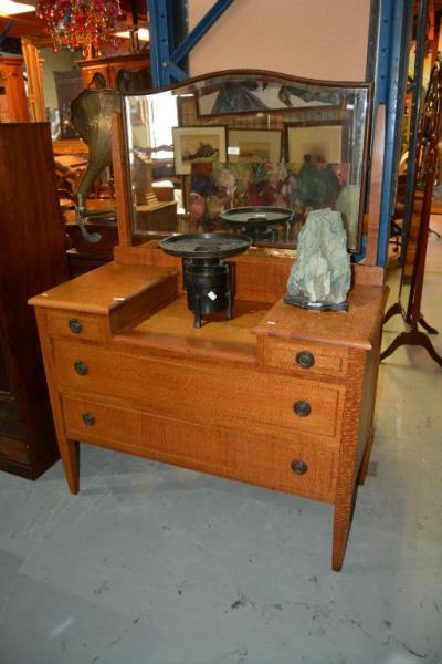Antique silky oak dressing table, breakfront