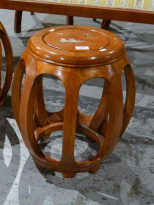 Rosewood drum shaped stool, with in laid mother