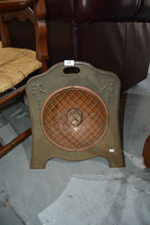 Vintage electric heater, cast iron & copper,